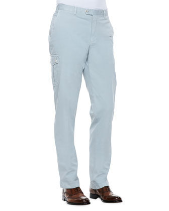 Twill Cargo Pants, Gray
