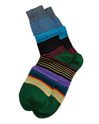 Mini-Multi Striped Socks, Black