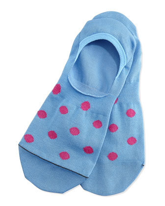 Polka Dot Loafer Socks, Lt. Blue