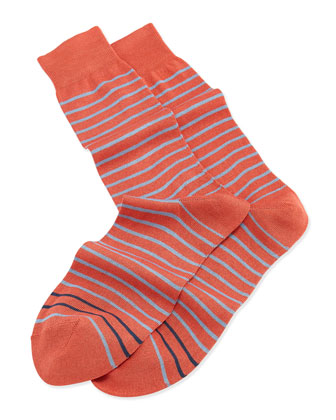 2-Stripe Knit Socks, Orange