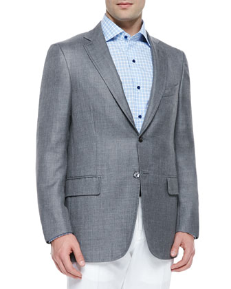 Cashmere-Silk Two-Button Blazer, Gray