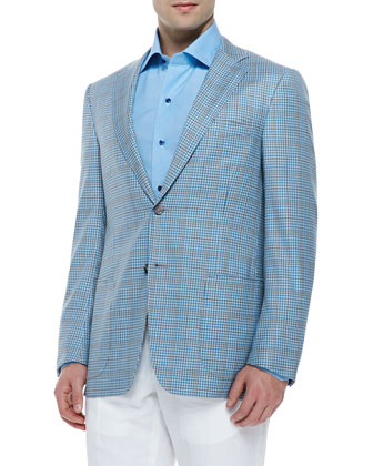 Wool Plaid Sport Coat, Aqua Check