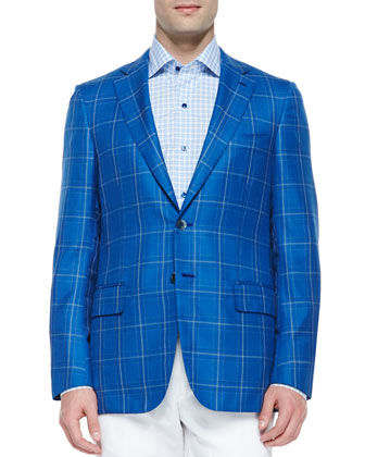 Wool Plaid Sport Coat, Navy