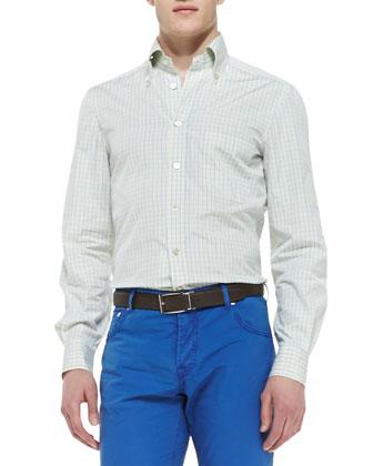 Check Woven Dress Shirt, Yellow/Blue