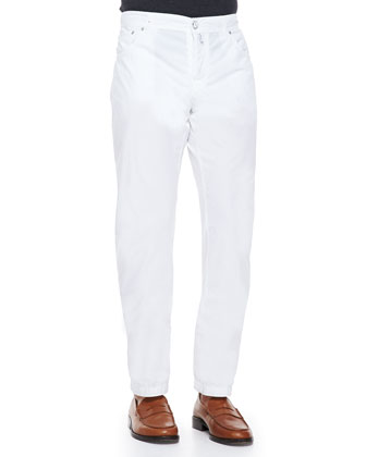 Twill Straight-Leg Trousers, White Pop