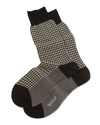 Mid-Calf Mini-Gingham Knit Socks, Black
