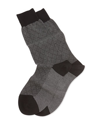 Mid-Calf Diamond Birdseye Socks, Black