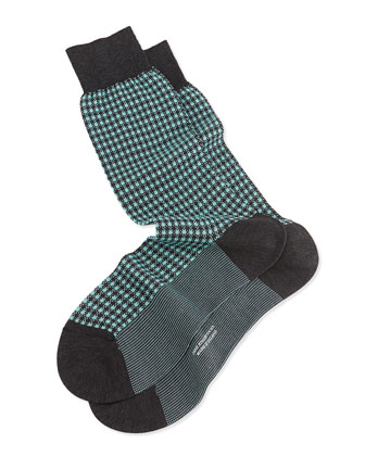 Mid-Calf Mini-Gingham Knit Socks, Dark Gray