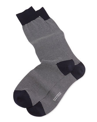 Mid-Calf Micro-Striped Lisle Socks, Navy