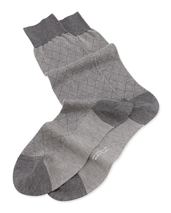 Mid-Calf Diamond Birdseye Socks, Mid Gray