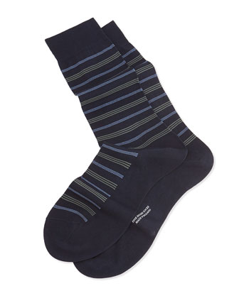 Mid-Calf Neat-Stripe Knit Socks, Navy