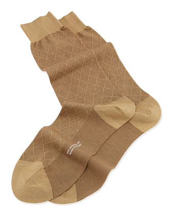 Mid-Calf Diamond Birdseye Socks, Light Khaki