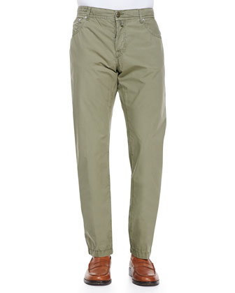 Twill Straight-Leg Trousers, Khaki