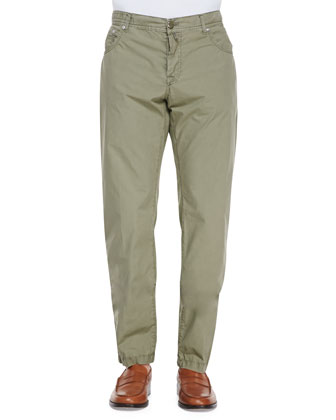 Twill Straight-Leg Trousers, Green Pop