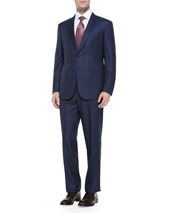 Wool Tonal Plaid Two-Piece Suit, Blue