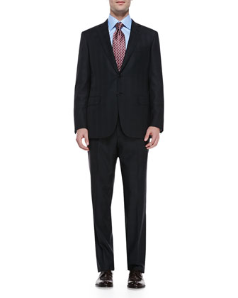 Wool Plaid Two-Piece Suit, Black