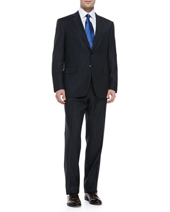 Striped Suit, Charcoal/Blue