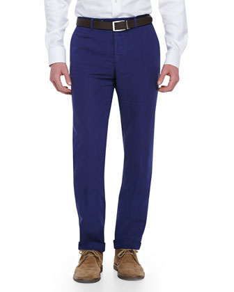Chinolino Cotton/Linen Trousers, Bright Navy