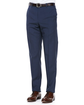 Virgin-Wool Flat-Front Dress Pants, Blue-Brown