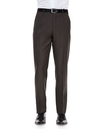 Sharkskin Dress Pants, Brown