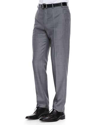 Sharkskin Dress Pants, Gray