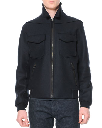 Felted Wool Bomber Jacket, Black