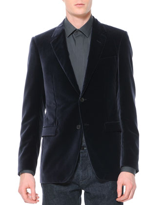 Velvet Evening Jacket & Slim 5-Pocket Jeans