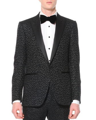 Animal-Print Jacquard Tuxedo Jacket, Black