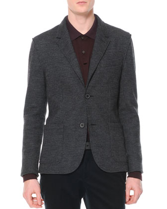 Small-Houndstooth Soft Jacket, Gray/Black