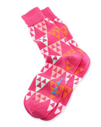 Triangles Men's Socks, Pink