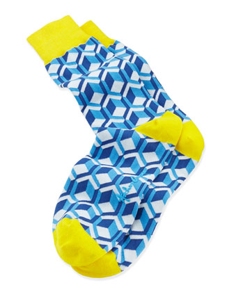 Cubes Men's Socks, Light Blue