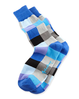 Blocks Men's Socks, Blue