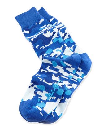 Camo Men's Socks, Blue
