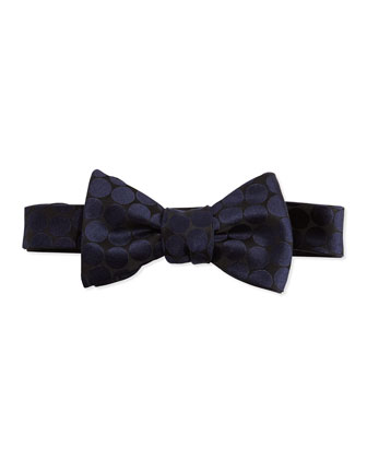 Polka-Dot Silk Bow Tie, Black/Silver