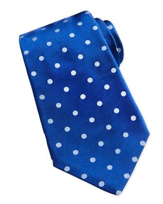 Woven Polka-Dot Silk Tie, Navy
