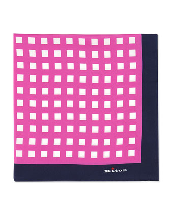 Box-Print Silk Pocket Square, Pink