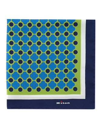 Floral-Print Pocket Square, Green/Blue