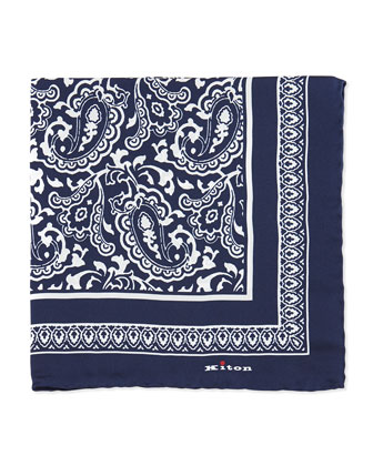 Bandana Silk Pocket Square, Navy