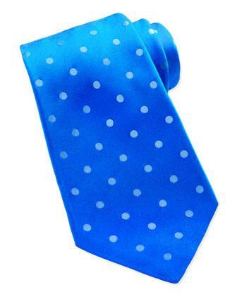 Woven Polka-Dot Silk Tie, Turquoise