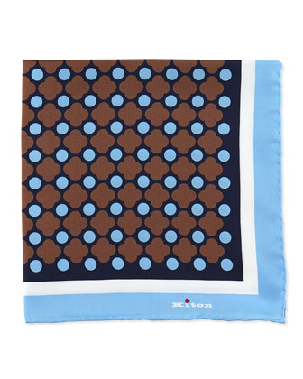 Floral-Print Pocket Square, Navy/Brown
