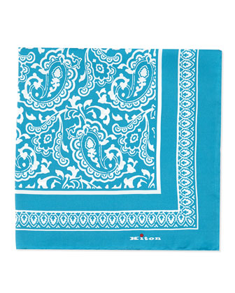 Bandana Silk Pocket Square, Aqua