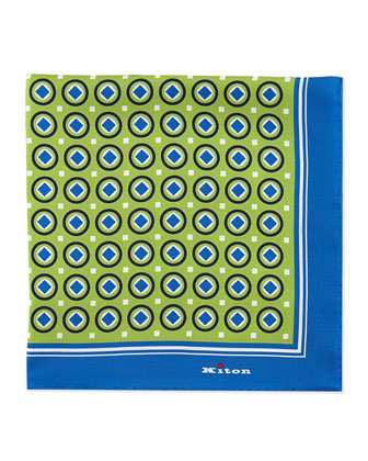 Circle-Print Pocket Square, Green/Blue