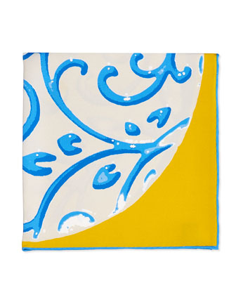 Coral-Print Pocket Square, Yellow/Blue
