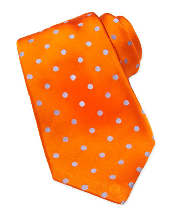 Woven Polka-Dot Silk Tie, Orange