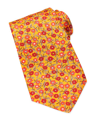 Printed Floral Silk Tie, Orange