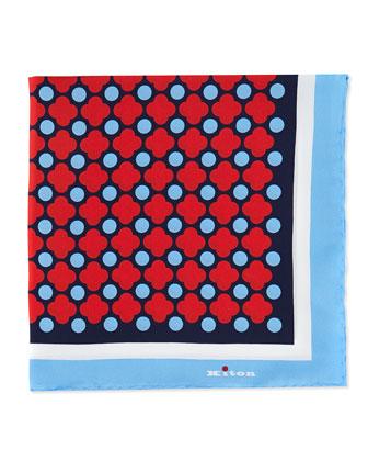 Floral-Print Pocket Square, Red/Blue