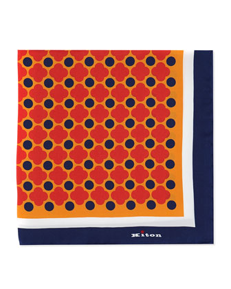 Floral-Print Pocket Square, Orange/Red