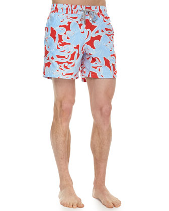 Moorea Octopus-Print Swim Trunks, Red