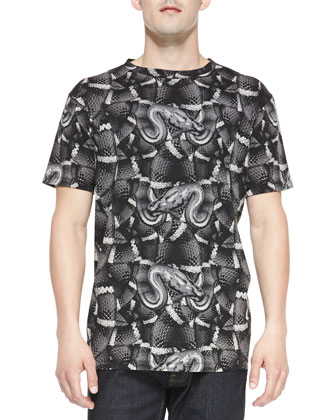 Allover Snake-Print Tee, Dark Gray