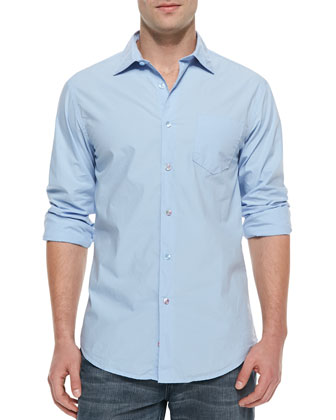 Woven Button-Down Shirt, Light Blue